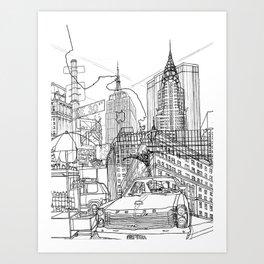 New York B&W (Dark T-shirt Version) Art Print
