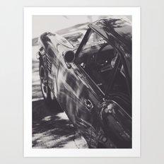 Fine art print, classic car, triumph, spitfire, b&w photo, still life, interior design, old car Art Print