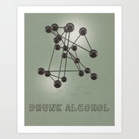 alcohol Art Prints featuring Drunk Alcohol by FalexanderArt