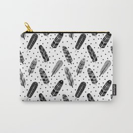 Feathers black and white triangle geometric modern trendy hipster boho southwest native style kids Carry-All Pouch