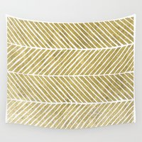gold foil Wall Tapestries featuring Gold Foil Chevron by Berty Bob