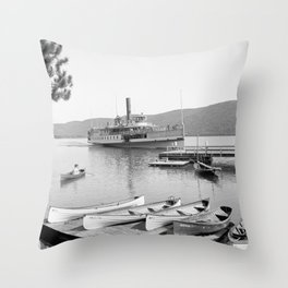 The Sagamore Lands at Roger's Slide Boathouse Throw Pillow