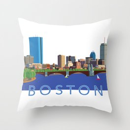 Back Bay Boston Skyline Throw Pillow