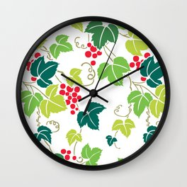 Japanese Vintage Red Grapes Green Vine Kimono Pattern Wall Clock
