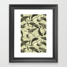 whales and waves natural Framed Art Print
