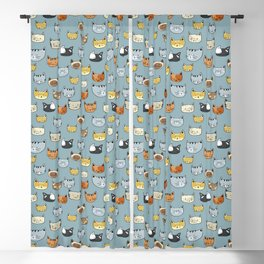 Cat Face Doodle Pattern Blackout Curtain
