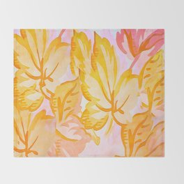 Soft Painterly Pastel Autumn Leaves Throw Blanket
