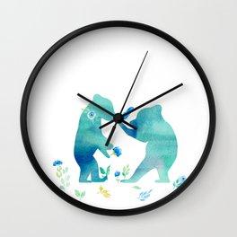 Playing bear kids- Watercolor animal illustration Wall Clock