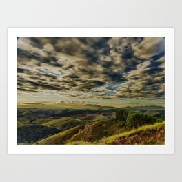 Cloudy hills Art Print