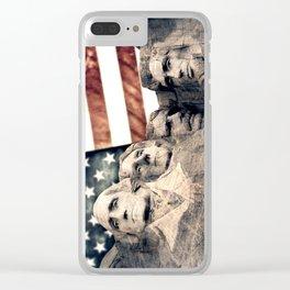 Patriotic Mount Rushmore Clear iPhone Case