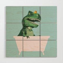 Playful T-Rex in Bathtub in Green Wood Wall Art