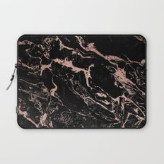 Modern girly faux rose gold foil black marble Laptop Sleeve