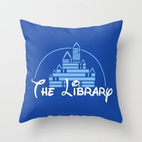 library Throw Pillows featuring The Library  by bookwormboutique