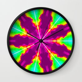 Rainbow Fire Starburst Wall Clock