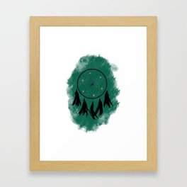 Dreamcatcher crow: Green background Framed Art Print