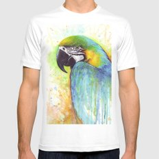 Bird Watercolor Animal Macaw Mens Fitted Tee White MEDIUM