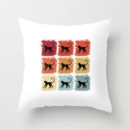 Retro Pop Art Monkey Primate Gift Idea Throw Pillow