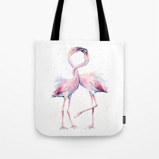 Two Flamingos Watercolor Flamingo Love Tote Bag