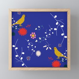 Bird and blossom electric blue Framed Mini Art Print