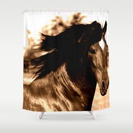 Horse print horse photography equestrian art sepia Poster Shower Curtain