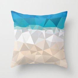 Low poly beach Throw Pillow
