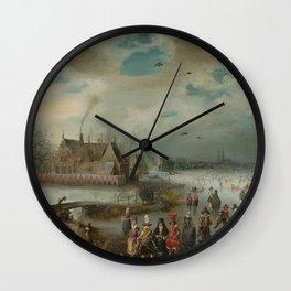 Adam van Breen - Skating on the Frozen Amstel River (1611) Wall Clock