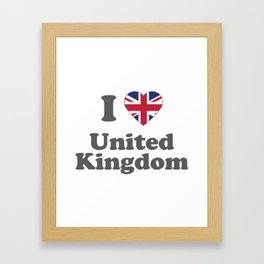 I Love UK Gift I Heart United Kindom British Gift Framed Art Print