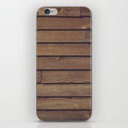 Dark Wood Planks Wall iPhone Skin
