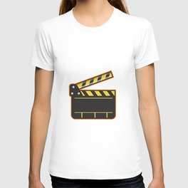 Movie Camera Slate Clapper Board Open Retro T-shirt
