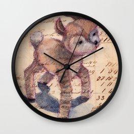 Vintage Chenille Deer Wall Clock