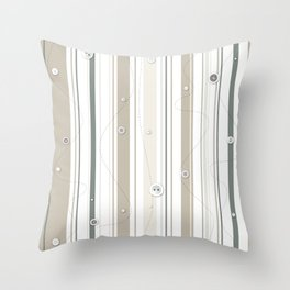 sewing lines and buttons  - grey and beige Throw Pillow