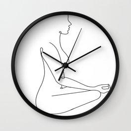 Zen body line art black white modern contemporary art illustration Wall Clock
