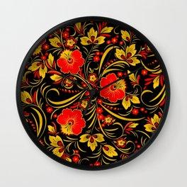 Russian Khokhloma pattern Wall Clock