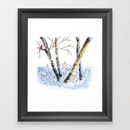 Winter Birch and Cardinal Bird Framed Art Print