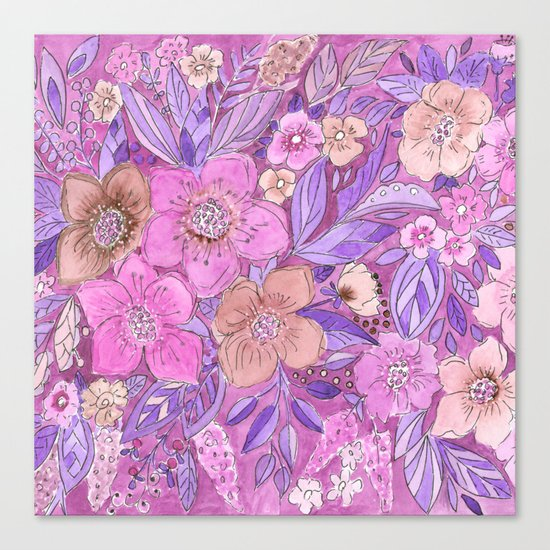 Watercolor . Pink flowers . Canvas Print