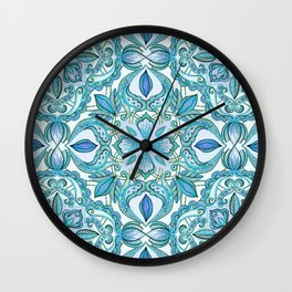 Colored Crayon Floral Pattern in Teal & White Wall Clock