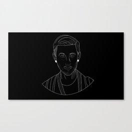 Woody white on black Canvas Print