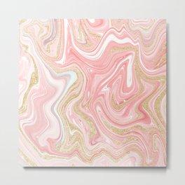 Modern pink coral marble gold glitter pattern Metal Print
