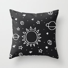 Planets Hand Drawn Throw Pillow
