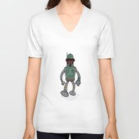 bender V-neck T-shirts featuring Bender Fett by Andy Whittingham