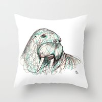 walrus Throw Pillows featuring Walrus by Ursula Rodgers