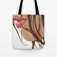 mouth Tote Bags featuring Mouth by Derek Donovan