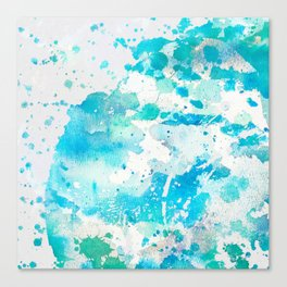 Hand painted teal turquoise ivory watercolor splatters Canvas Print