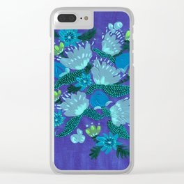 Grey Peonies Clear iPhone Case