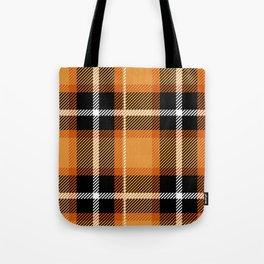 Orange + Black Plaid Tote Bag