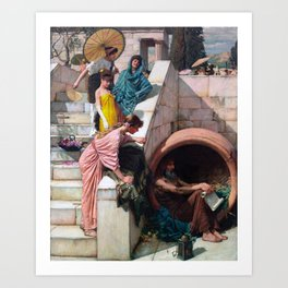 audrey hebpurn + john william waterhouse Art Print