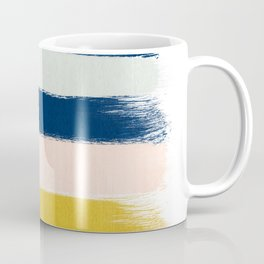 Esther - navy mint gold painted stripes brushstrokes minimal modern canvas art painting Coffee Mug