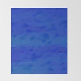 Subtle Cobalt Blue Waves Pattern Ombre Gradient Throw Blanket