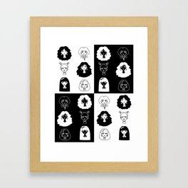 Girls' faces (black) Framed Art Print
