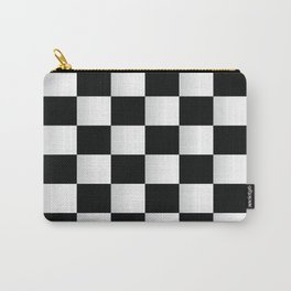 BLACK AND WHITE SQUARES Abstract Art Carry-All Pouch
